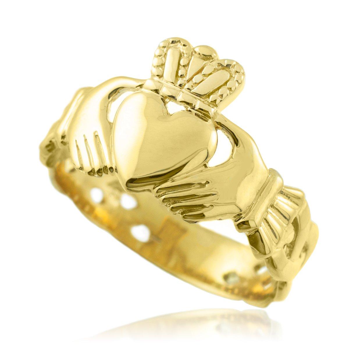 Bold 14k Yellow Gold Men's Trinity Knot Band Irish Claddagh Ring (11)