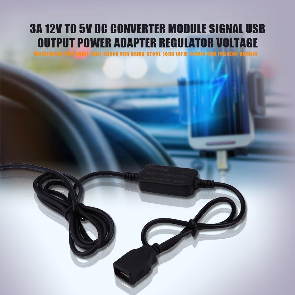 Qiilu QL05897 Module de conversion 3A 12V /à 5V CC Signal de sortie USB Adaptateur secteur R/égulateur de tension