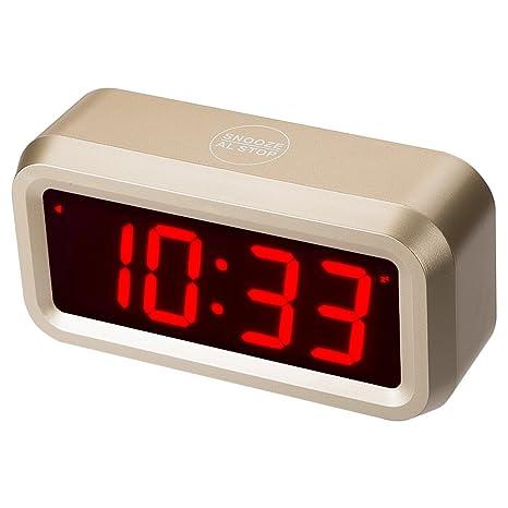 Timegyro Reloj despertador digital con pilas Reloj de escritorio para habitaciones con repetición