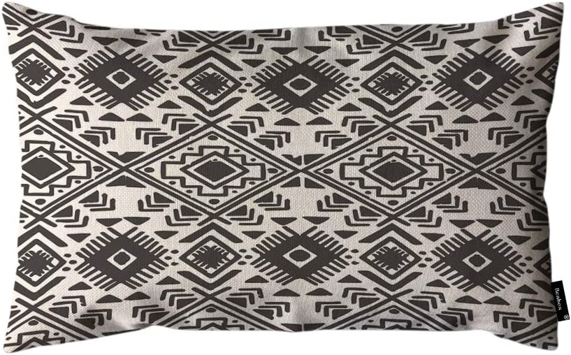 Beabes Native American Design Throw Pillow Cover Black and White Tribal Pattern Abstract Art Aztec Ethnic 12x20 Inch Lumbar Pillow Case Cushion for Couch Sofa Home Decor Cotton Linen
