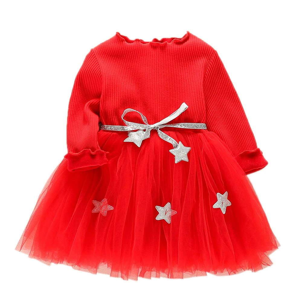 Cuekondy Infant Toddler Baby Girl Cute Star Party Princess Dress Winter Long Sleeve Tulle Tutu Sweatshirt Dress Clothes