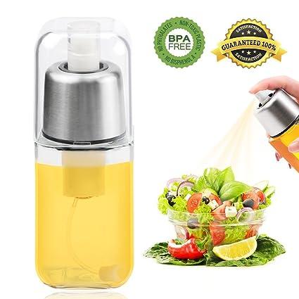 Weeygo Pulverizador de Aceite, Prima Botella dispensadora del rociador de Aceite del Vidrio del Acero