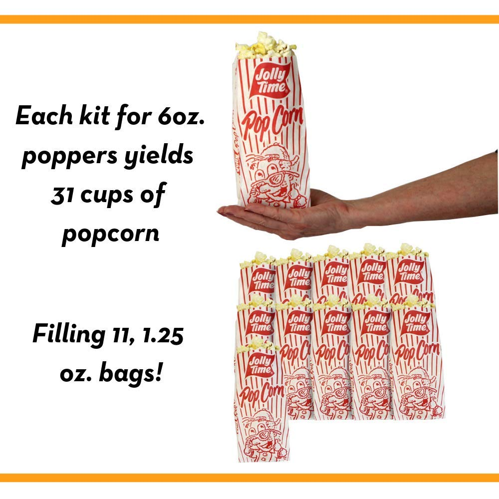 JOLLY TIME All in One Kit for 6 oz. Popcorn Machine | Portion Packet with Kernels, Oil and Salt for Commercial, Movie Theater or Air Popper (Net Wt. 8 oz. Each, Pack of 36) by Jolly Time (Image #6)