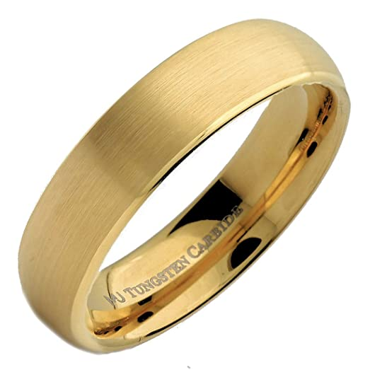 6mm Gold Plated Brushed Tungsten Carbide Wedding Ring Classic Half