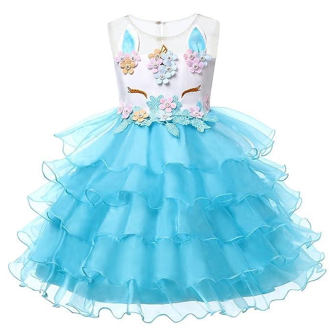 LZH Unicornio Vestido de Fiesta Niñas Flor Cosplay Cumpleaños Vestido de Princesa