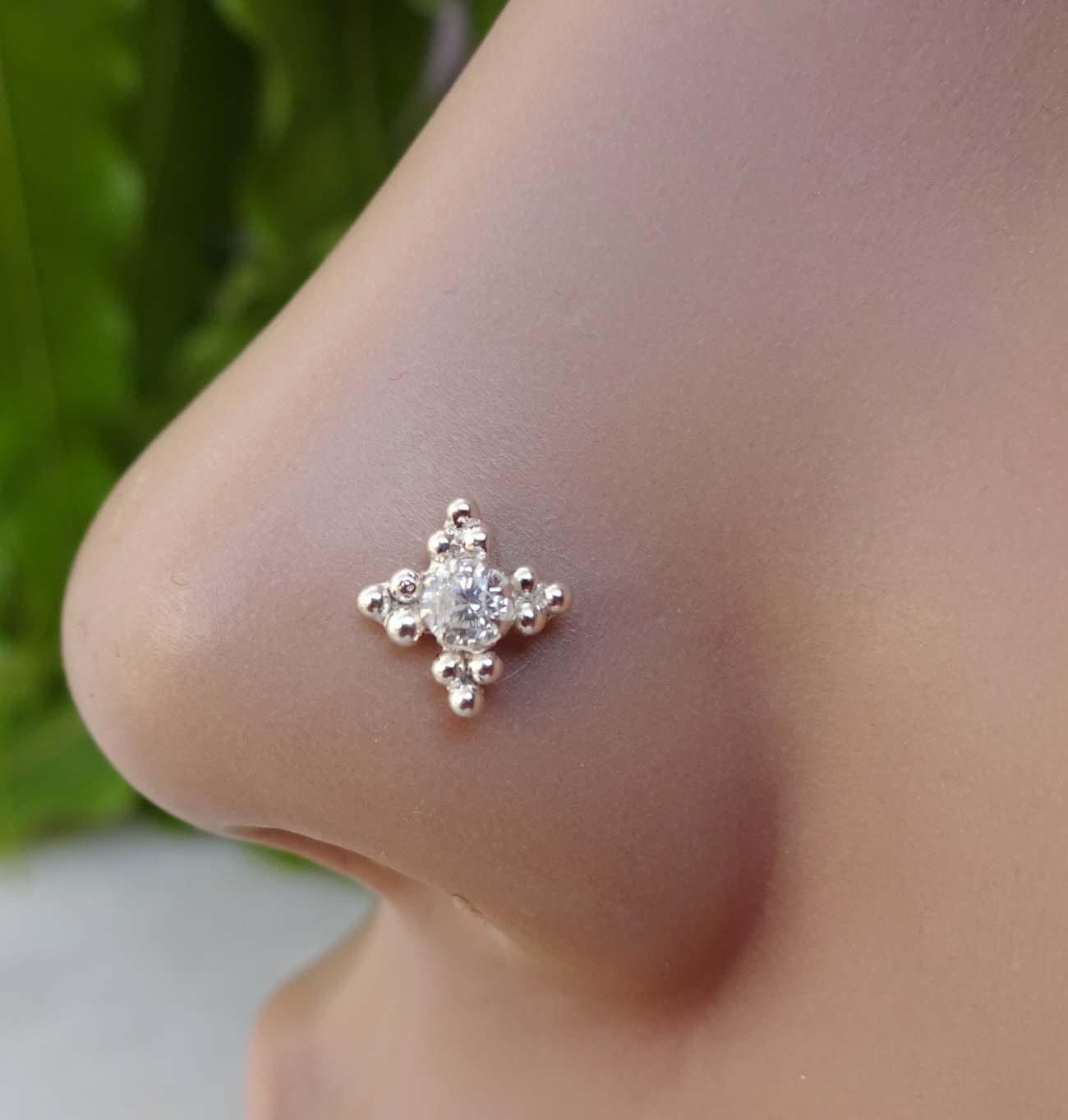 Cute Diamond Nose Piercing,925 Sterling Silver Nose Stud,Flower Nose Piercing,Diamond Nose Screw,Cubic Zirconia,CZ Simulated Diamond Nose Stud,Silver Nose Piercing,Crock Screw Nose Stud(TEJ197)