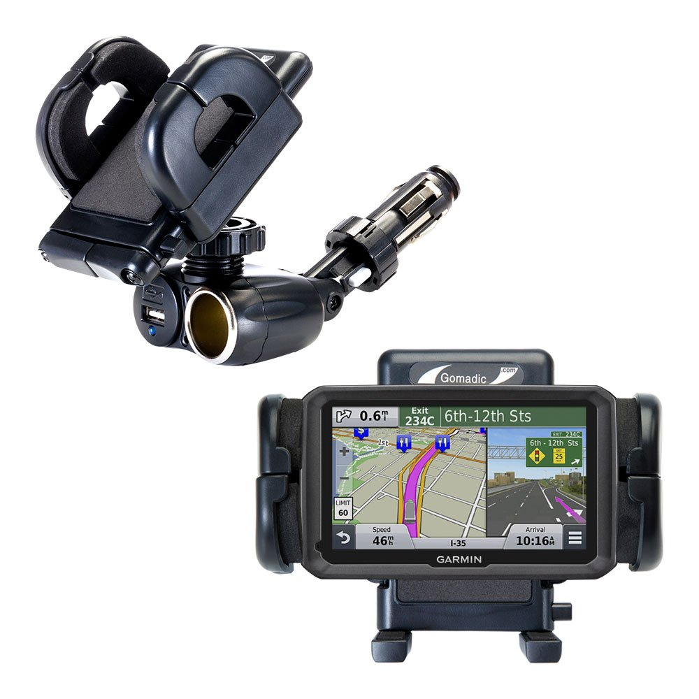 Unique Auto Cigarette Lighter and USB Charger Mounting System Includes Adjustable Holder for the Garmin dezl 570 LMT