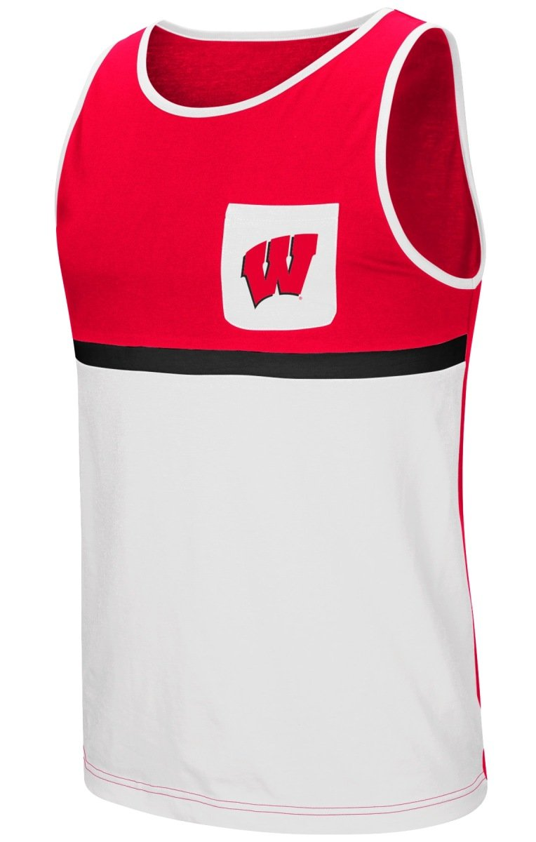 0089ca44eb77c5 Amazon.com   Colosseum Wisconsin Badgers NCAA Sun s Out Men s Pocket Tank  Top Shirt   Sports   Outdoors