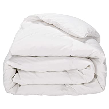Puredown White Down Comforter Year Round Use 100% Cotton 600 Fill Power 233 Thread Count, King Size, White