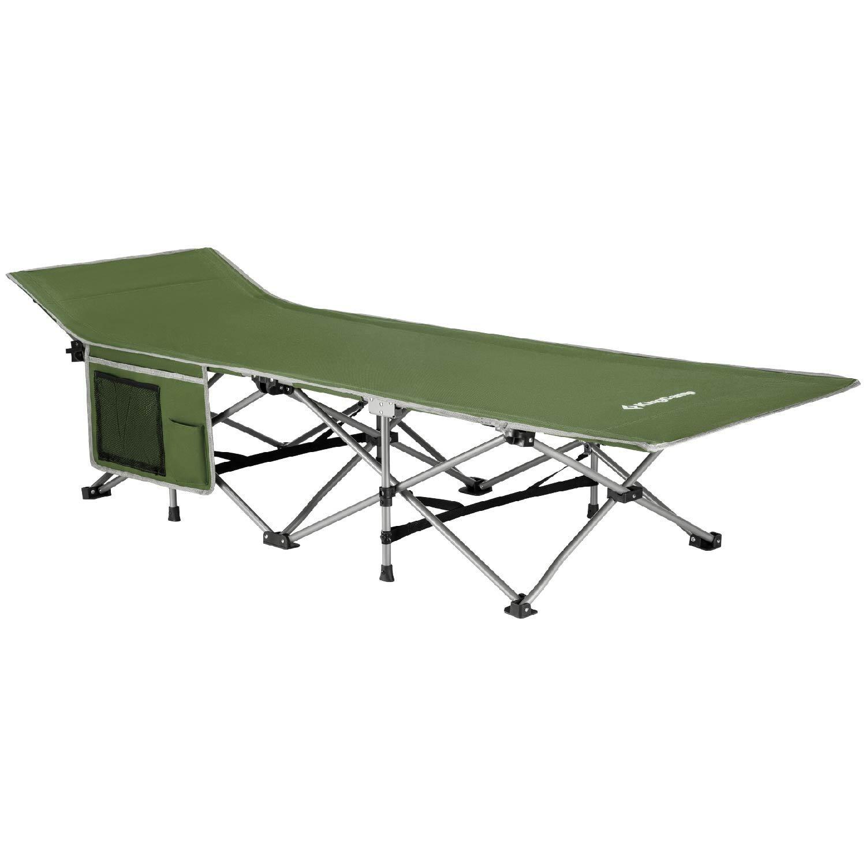KingCamp Feldbett Campingbett Klappbett bis 100 kg belastbar mit Seitentasche