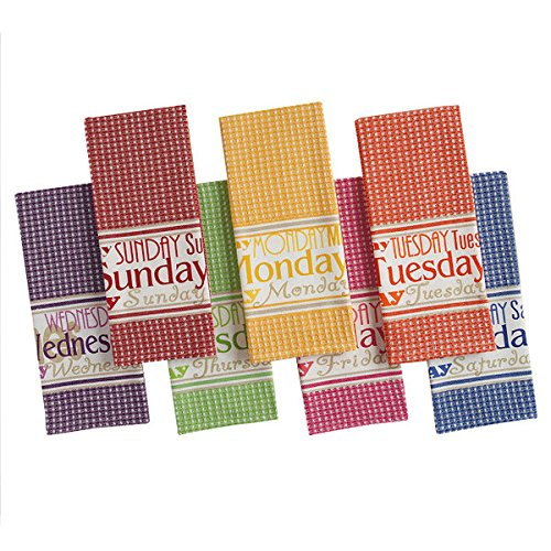- DII Bright Days of the Week Kitchen Dish Towel,Multi - Set of 7