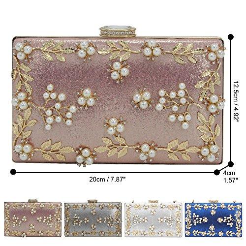 Bag Purses Evening Pink Beaded Clutches Pearl Flower Shoulder Women's Pink Bridal Handbag Cckuu RgSnwqAxBp
