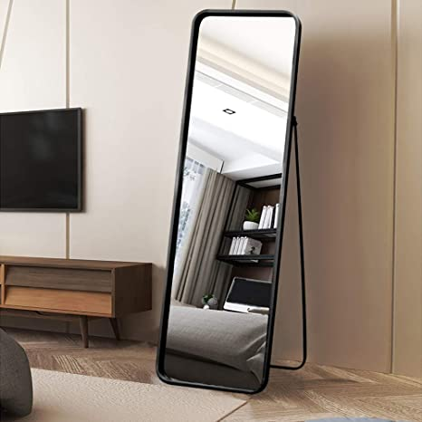 Vingli Full Length Mirror Metal Frame Floor Mirror With Stand Dressing Mirror In Bedroom Living Room Bathroom Full Body Wall Mounted Mirror With Round Corner Black Kitchen Dining