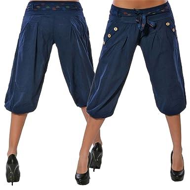 Dihope Femme Été 3 4 Mi-Longue Harem Pantalon de Loisir Taille Basse Palazzo  Sarouel Baggy Casual Pants Lache Jambe Large Décontracté avec Ceinture  ... 1a946688690