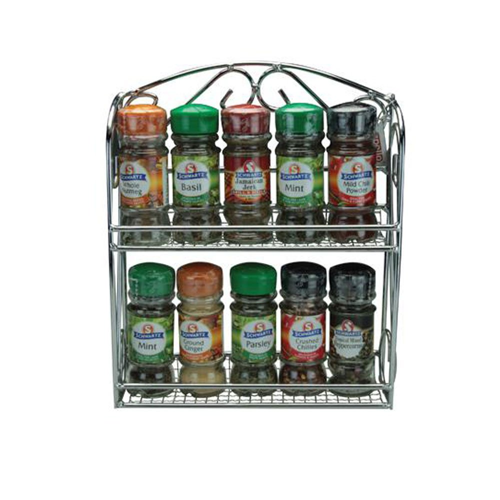 Filled Chrome Spice rack 10-jar with Schwartz Hebs & Spices Apollo / Schwartz