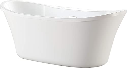 Ove Decors Acrylic Oval Soaking Bathtub with Double Bakcrest, Pop Up Drain and Overflow, 60 inches, Riley 60 White