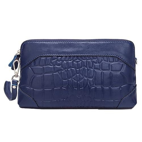 MISSMAY Genuine Leather mujer bolso monedero cartera bolso bandolera Wristlet Clutch, color azul, talla talla única: Amazon.es: Zapatos y complementos