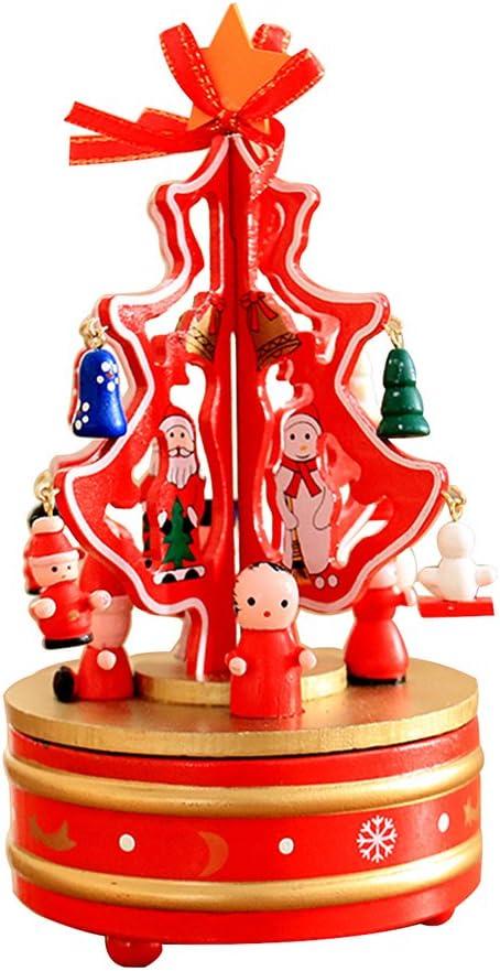 HorBous Decoraciones de Navidad Árbol de Navidad Caja de música giratoria de Madera Decoración de Escritorio (Rojo): Amazon.es: Hogar