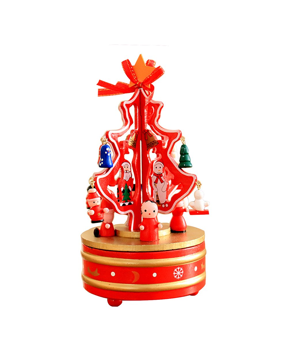 HorBous Christmas Decorations Christmas Tree Wooden Rotating Music Box Desktop Decoration (green)