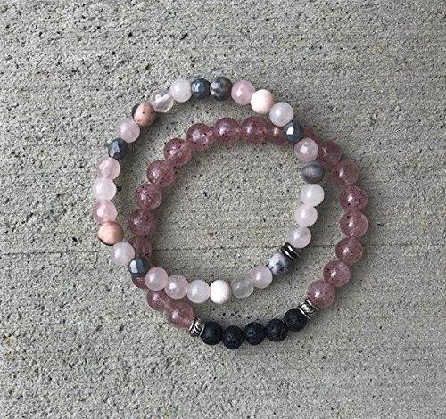 Strawberry and Rose Quartz Aromatherapy Bracelet