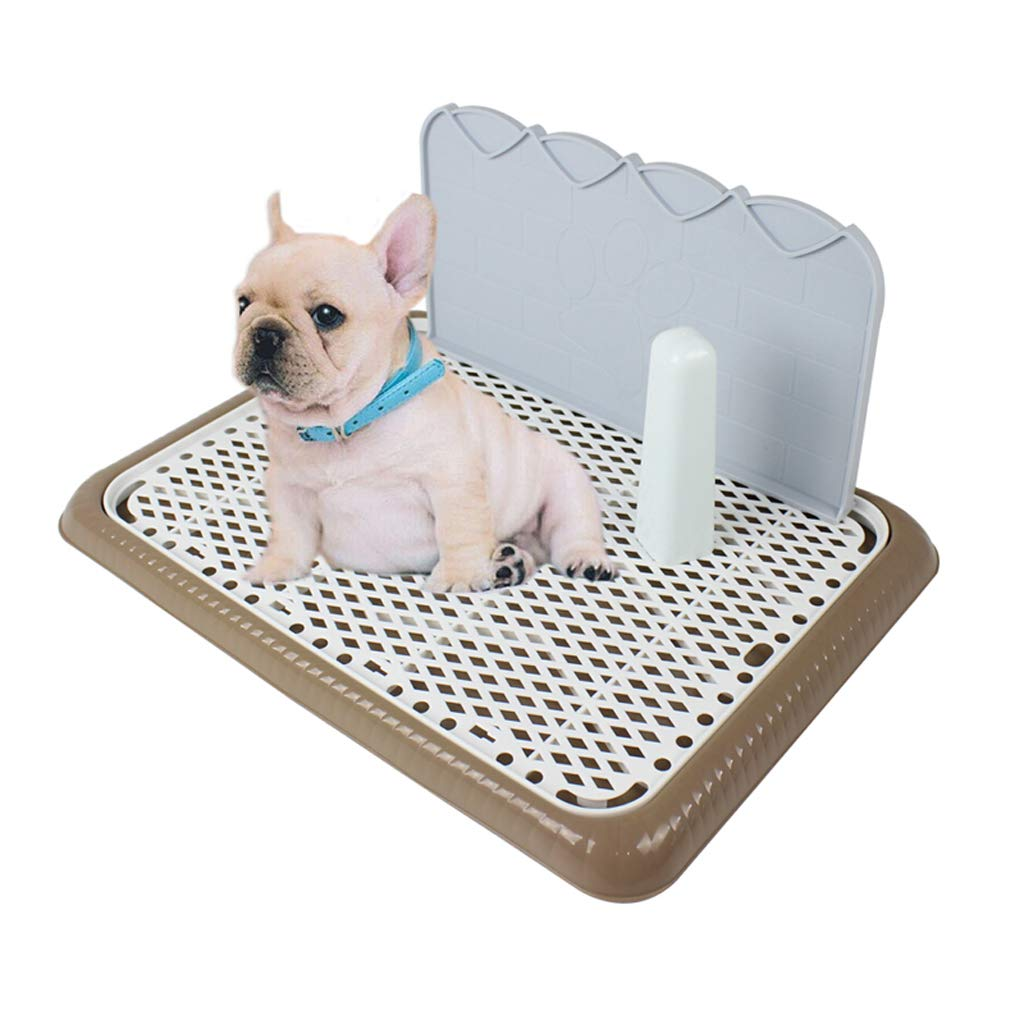 Coffee small coffee small AZBYC Indoor Dog Potty Pet Loo, Removable Grid With Column Wall, Large, Toilet For Medium And Small Dogs,65× 48× 21cm