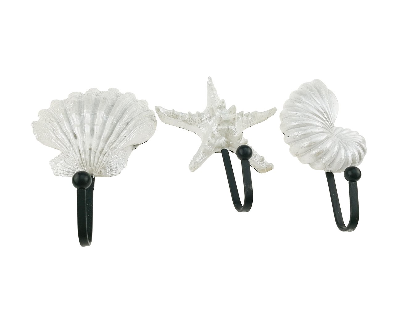 1 Set 3Pcs Mediterranean Style Cast Iron Asteroidea Scallop Seashell Hooks Wall Hook Seaside Iron Wall Hanger Decorative Hooks for Hanging Coats Housewarming Gift Home Decor