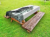 Lunarable Balinese Outdoor Tablecloth, Wisnu GWK Cultural Park Indonesia Ancient Architecture Statue Carving Print, Decorative Washable Picnic Table Cloth, 58 X 84 Inches, Green Grey White