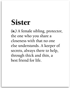 Gabby's Choice Sister - Dictionary Quote - 11x14 Unframed Art Print - Sister and Sibling Wall Art Gift or Girls Room décor