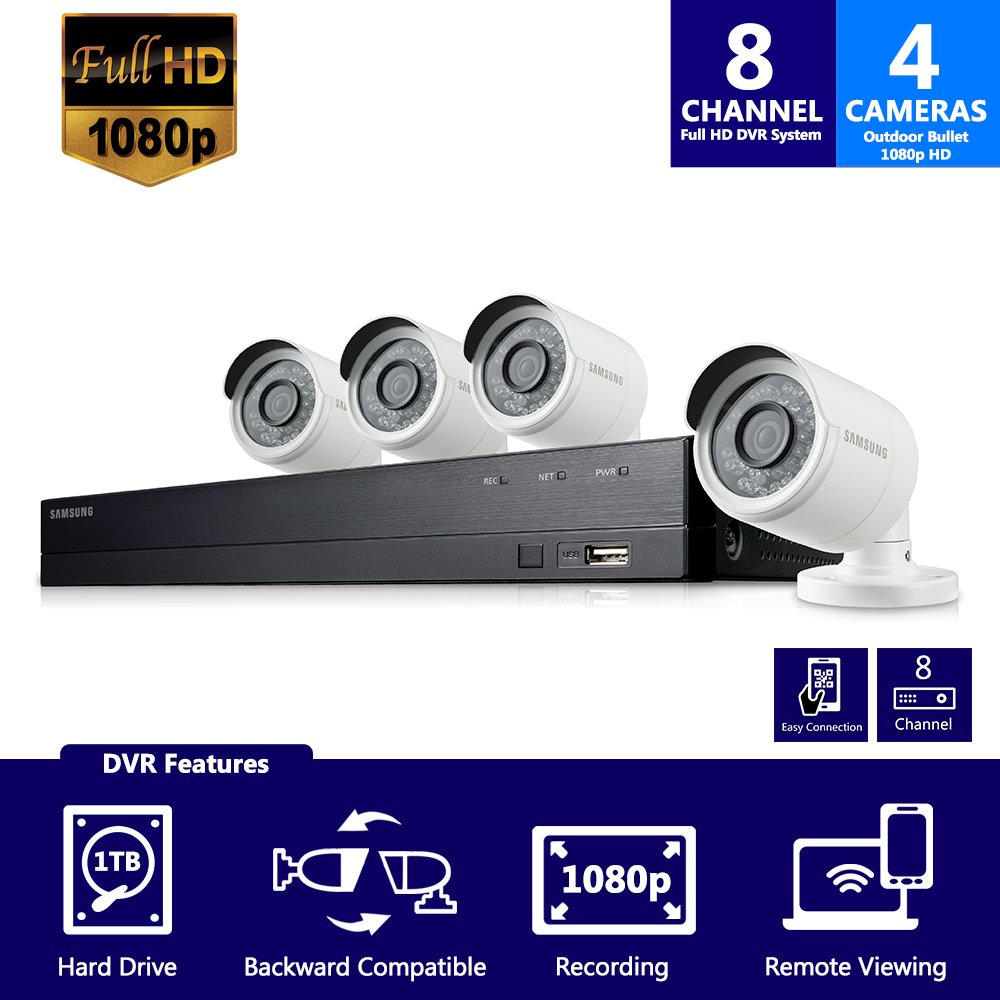 Samsung WisenetSDH-B74041 8 Channel 1080p Full HD DVR Video Security Camera System 4 Outdoor BNC Bullet Camera (SDC-9443BC) with 1TB Hard Drive by Samsung