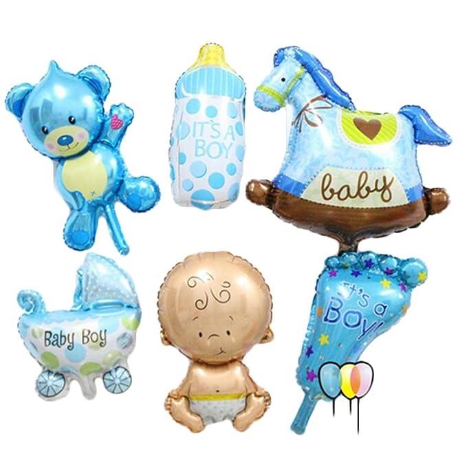 6 globos lámina de aluminio, para decoración de fiesta de cumpleaños para niños, baby shower, boda, azul, Pack de 6