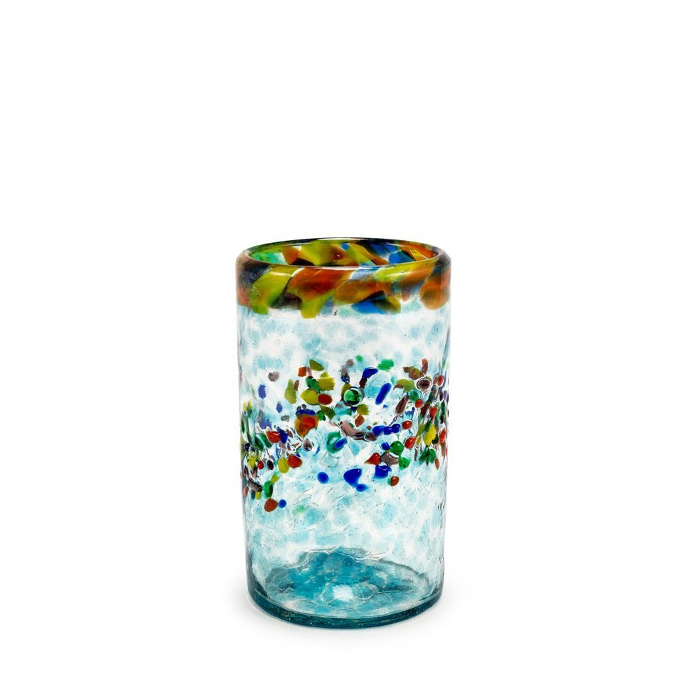 Bambeco Aqua Del Sol Hand-Crafted Blown Recycled Glass 12-ounce Tumbler
