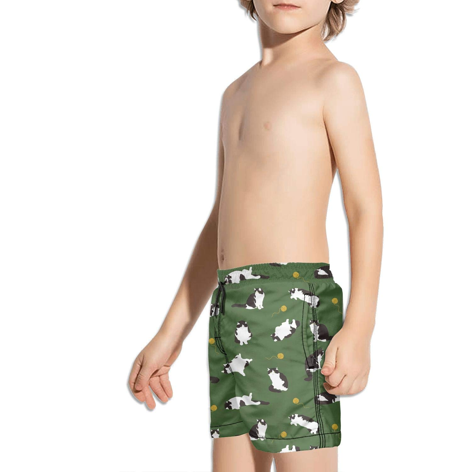 Etstk Black cat Kids Lightweight Trunks for Students