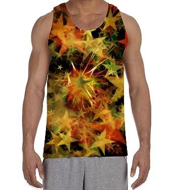 f2220e2f4 Star Explosion Supernova Pattern Men's All Over Print Graphic Vest Tank Top  (Small, White