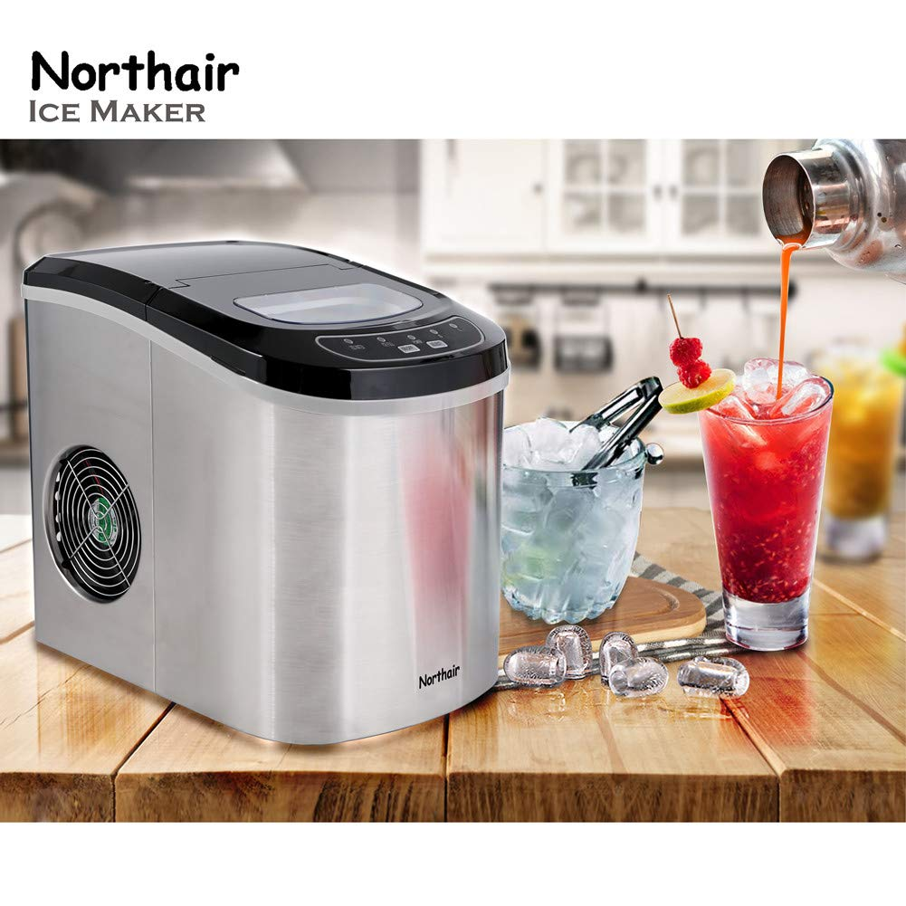 Copper Northair HZB-12//SA Portable Ice Maker Machine Counter Top with 26lbs Daily Capacity Stainless Steel Colorful