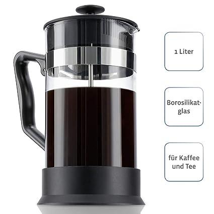 schwarz//silber Kaffeebereiter 0,6 Liter, Edelstahlfilter, Kaffeezubereiter mit Sieb, eingebauter Kalkfilter, Kaffee-Bereiter Xavax Kaffee French Press aus Glas