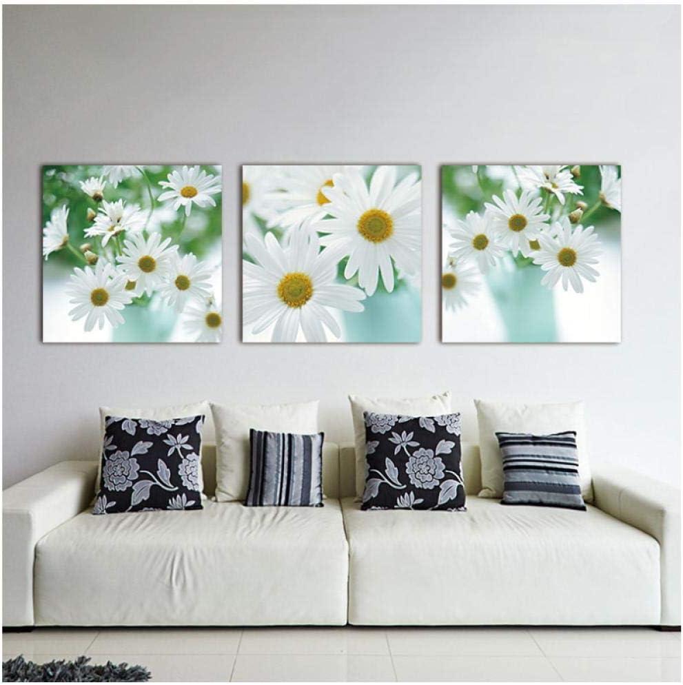 Dlfalg - Cuadro decorativo de pared (50 x 50 cm, 3 unidades), diseño de margarita de margarita blanca