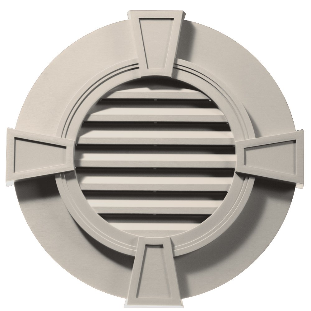 Builders Edge 120033030048 30'' Round Octagon Vent Wide Ring and Keystones 048, Almond