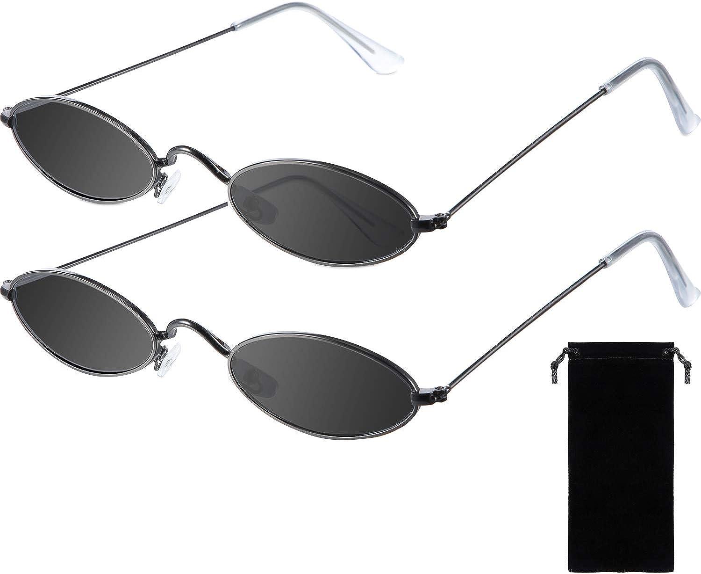 Frienda 2 Pares Gafas de Sol Ovalada Vintage Pequeño Mini Gafas Redondos con Estilo Vintage para Mujer Niña Hombre