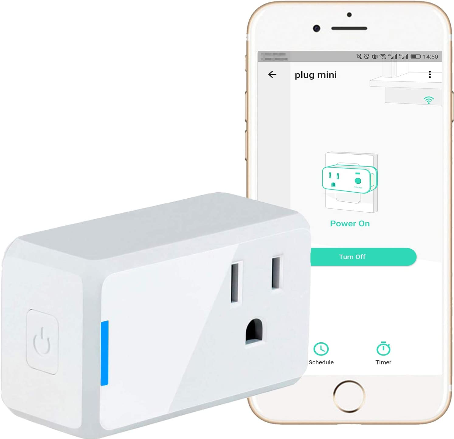 YoLink Smart Plug Mini, 10 Amp ETL Certified Smart Outlet, Smart Scheduling of Power Usage, Appliance/Device Control, Works with Alexa & Google Assistant, IFTTT - YoLink Hub Required