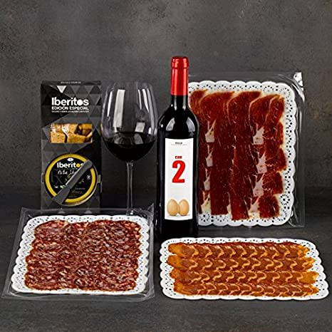 SADIVAL LOTES - Caja Decorada Selección Gourmet Con Lomo Salchichón Y Jamón Ibérico Loncheado Pate Ibérico Y Botella De Vino Tinto D.O. Rioja: Amazon.es: Alimentación y bebidas