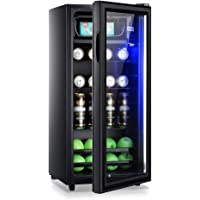 Drinks Fridge with Glass Door and Led Light, Beverage Cooler and Refrigerator, Mini Fridge with Glass Door, Small Drink…