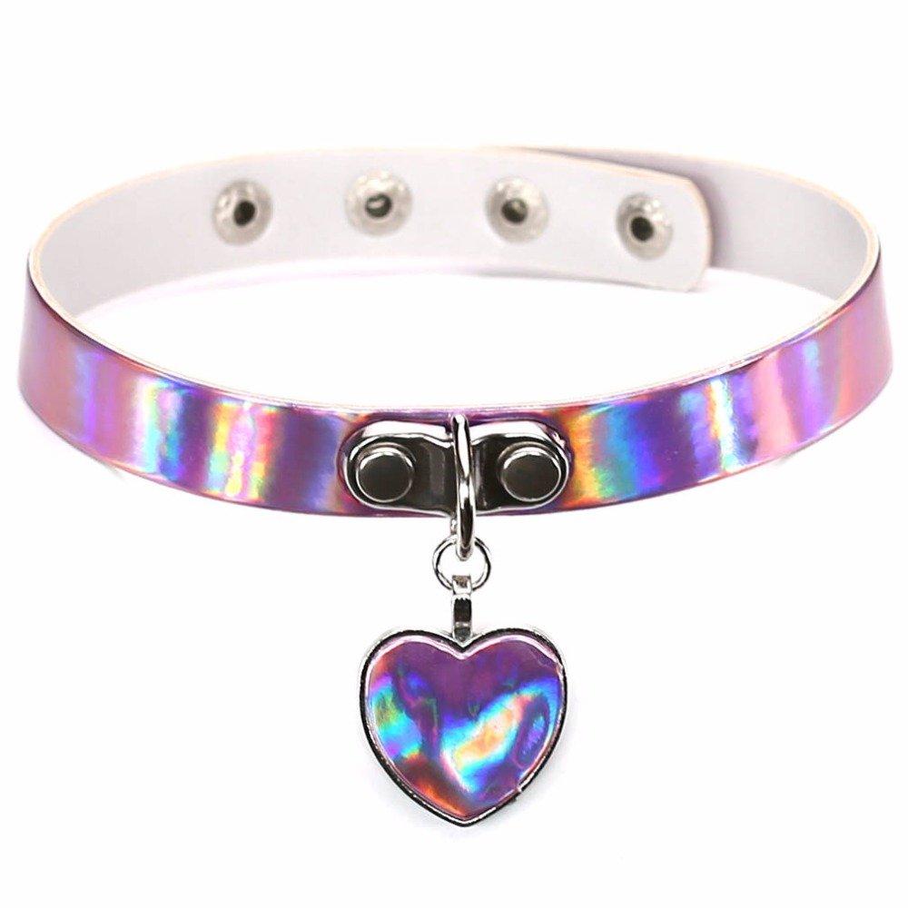 Hyary - Chic Anime Harajuku Necklaces Fashion Heart Pendant Laser Luminous PU Leather Choker Necklace For Women Chocker Jewelry