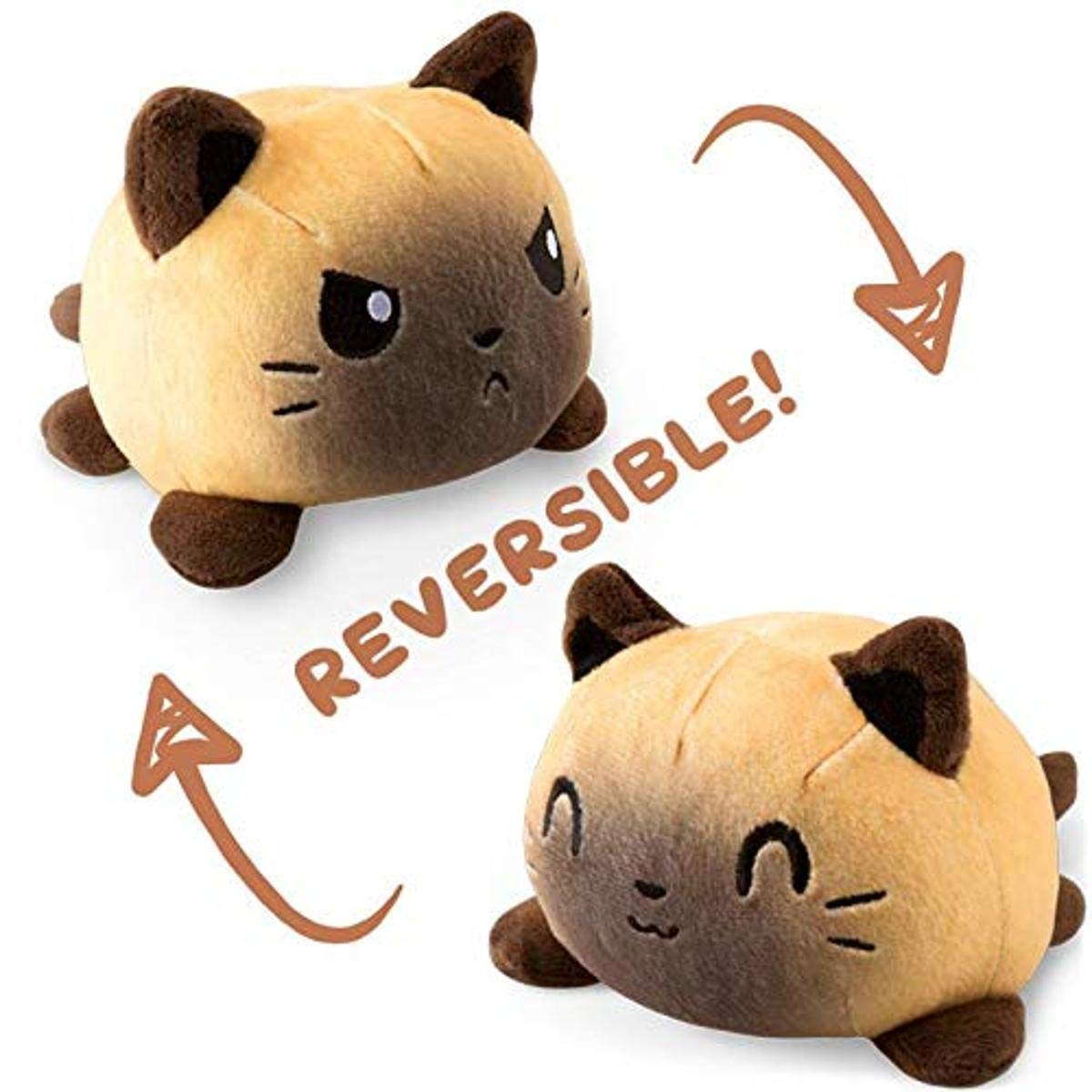 TeeTurtle | The Original Reversible Cat Plushie | Patented Design | Siamese | Show Your Mood Without Saying a Word!