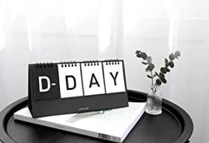 ICONIC D-Day Calendar - Wirebound flip for Both Perpetual Desk Calendar and D-Day Desk Calendar (Black)