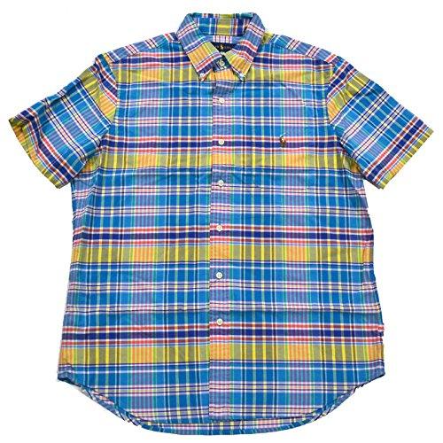 Polo Ralph Lauren Men's Short Sleeve Plaid Button Front Oxford Shirt (XL, Ocean - Polo Plaid Ralph Lauren