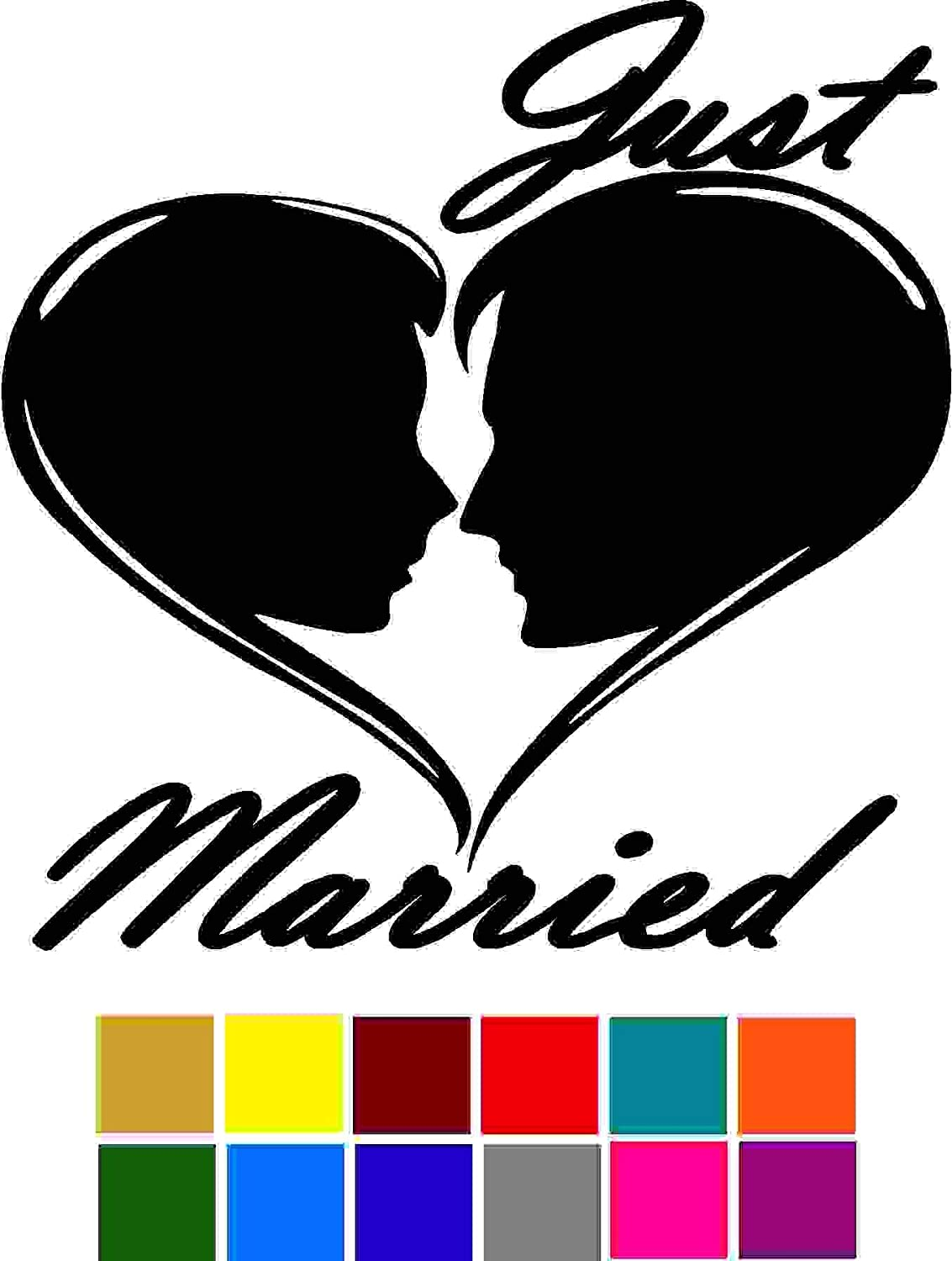Choose Color V and T Gifts Saying Just Married Decal