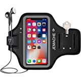 iPhone X Armband, JEMACHE Run/Jog/Ride/Exercise/Workout Sport Gym Arm Band Case for iPhone X/10 with Card/Key Slot Holder (Black)