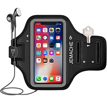 check out 6c9dc ff7ba iPhone X/XS Armband, JEMACHE Sport Running/Jogging/Exercise/Workout Gym Arm  Band Case for iPhone X/XS with Card/Key Holder (Black)