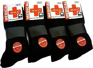 Medical 6+6=12 Pares Calcetines Hombre Negro Talla 40/46 Anti ...