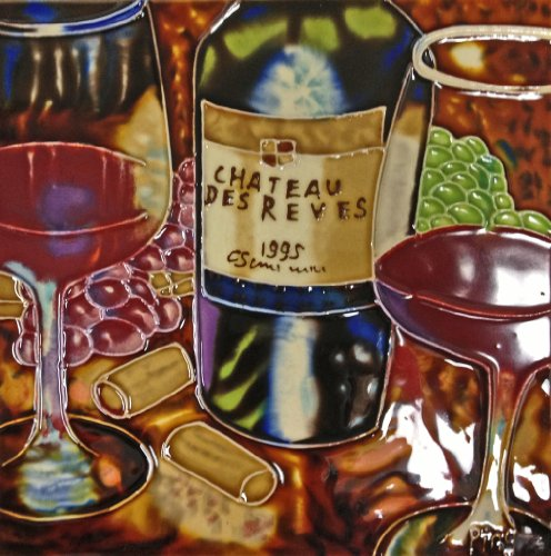 Continental Art Center BD-0366 8 by 8-Inch Wine with Glasses Ceramic Art Tile, Purple Red